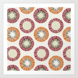 Circles 1 - Red & Orange Art Print