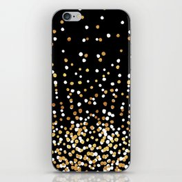 Floating Dots - White and Gold on Black iPhone Skin