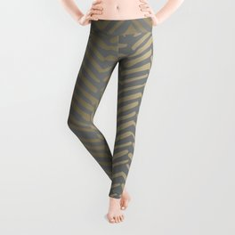 Herringbone, Boho, Mudcloth Pattern, Grey and Gold Leggings