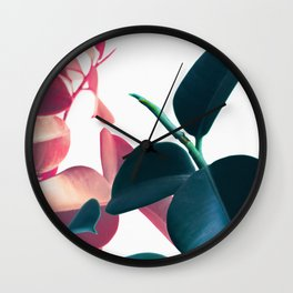Plant Leaves Wall Clock