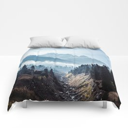 VALLEY - MOUNTAINS - TREES - RIVER - PHOTOGRAPHY - LANDSCAPE Comforters