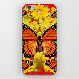 VICEROY BUTTERFLIES & YELLOW FLOWERS RED ART iPhone Skin
