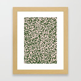 Stone Pattern - Salmon Pink & Olive Green Framed Art Print