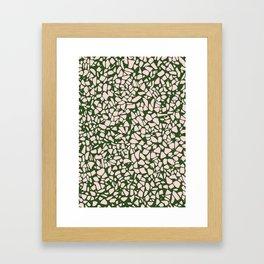 Stone Pattern - Salmon Pink & Olive Green Framed Art Print