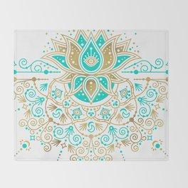 Sacred Lotus Mandala – Turquoise & Gold Palette Throw Blanket
