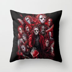 Jason Voorhees Friday the 13th Many faces of Throw Pillow