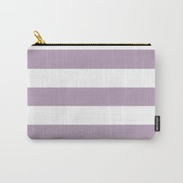 Pastel purple - solid color - white stripes pattern Carry-All Pouch