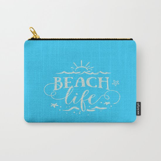 BEACH life - white Typography on Aqua for your summer - Mix & Match Carry-All Pouch