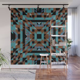 luna - native motif in rich turquoise and terracotta on black Wall Mural