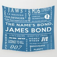 bond Wall Tapestries featuring Bond Blue by Candace Fowler Ink&Co.