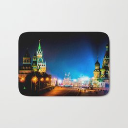 Moscow Kremlin And Red Square At Winter Night Bath Mat