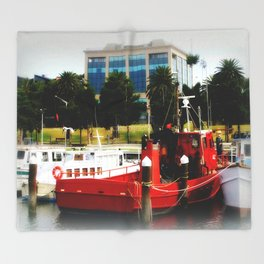 Little red tug Boat Throw Blanket