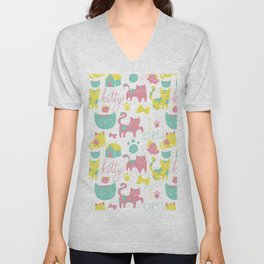 Abstract lime green pink cute cats pattern modern typography Unisex V-Neck