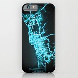 Jeddah, Saudi Arabia, Blue, White, Neon, Glow, City, Map iPhone Case