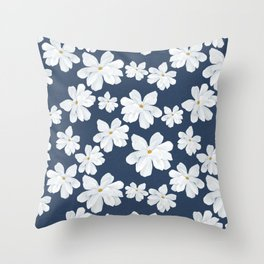 Southern Magnolia, Blue Background  Throw Pillow