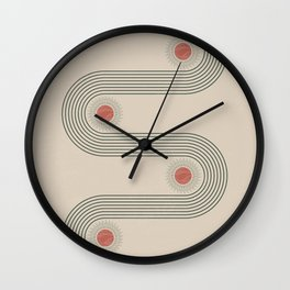 Mid century modern minimalist print with contemporary geometric moon phases Wall Clock