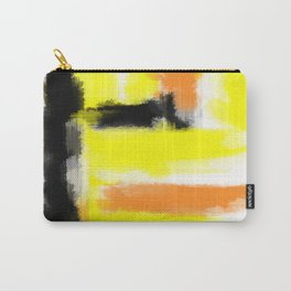 orange yellow and black painting abstract with white background Carry-All Pouch