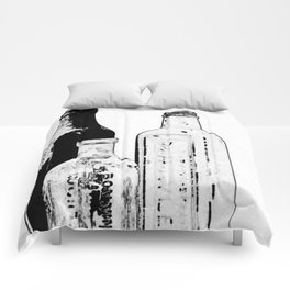 Drawing of Antique Bottles Black & White Comforters