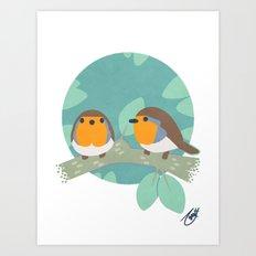 European Robins Art Print
