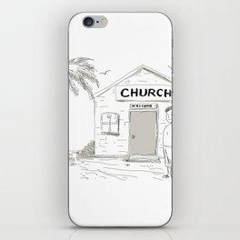 Samoan Boy Stand By Church Cartoon iPhone Skin