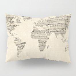 Old Sheet Music World Map Pillow Sham