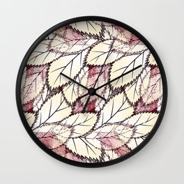 Delicate openwork leaves on a white , light brown background. Wall Clock