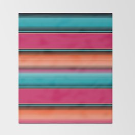 Traditional Mexican Serape in Teal Throw Blanket