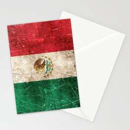 Vintage Aged and Scratched Mexican Flag Stationery Cards