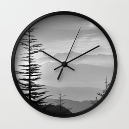 Rainbow clouds at the mountains at sunrise. BW Wall Clock