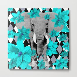 ELEPHANT and HARLEQUIN BLUE AND GRAY Metal Print