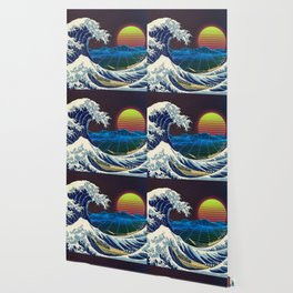 Synthwave Space #9: The Great Wave off Kanagawa Wallpaper