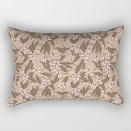Sakura Branch Pattern - Pale Dogwood + Hazelnut Rectangular Pillow