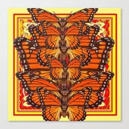 RED ART DECO  MONARCH BUTTERFLIES SWARM Canvas Print