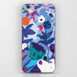 Bird and Dog in Blue Garden iPhone Skin