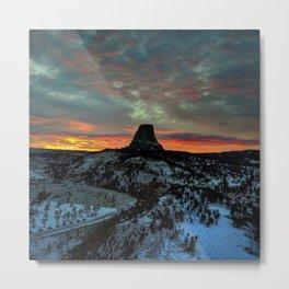 Devil's Tower, Black Hills, Wyoming Sunset Landscape Metal Print