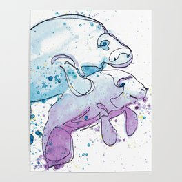 Manatee Mommy with Her Baby Poster