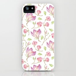 Pink lilac watercolor hand painted magnolia pattern iPhone Case