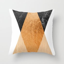 Copper Marble Triangles Throw Pillow