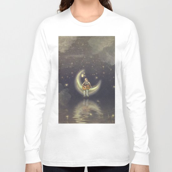Story about boy who play guitar on moon Long Sleeve T-shirt