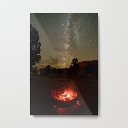 Fireside Under The Summer Desert Sky Utah Night Milky Way Campfire Landscape Metal Print