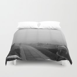 London Fog in Regents Canal III  by Diana Eastman Duvet Cover
