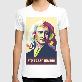 Sir Isaac Newton In Pop Art Portrait T-shirt