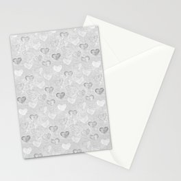 Gray And White Hearts Pattern Stationery Cards