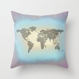 It's a Big 'ol World 2 - Pointilist Art Throw Pillow