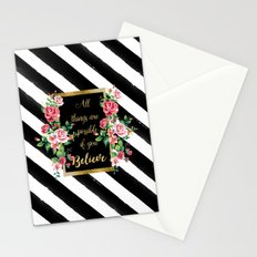 """Modern golden inspirational  quote, """"all things are possible if you believe"""" Stationery Cards"""