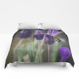 Lavender Blooms, Bee Photography, Nature Photography, Flower Photography, Floral Print, Nature Print Comforters