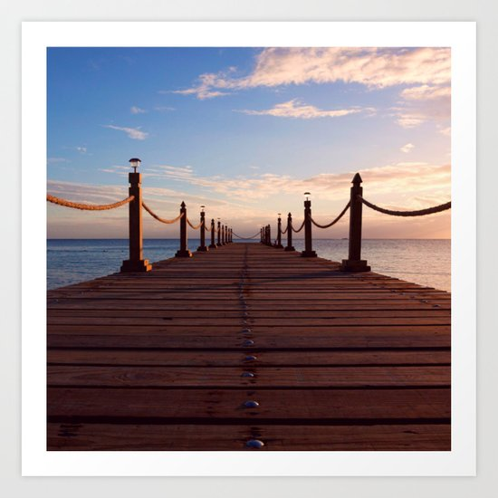 Sunset on the Pier (Lake Dock) Art Print