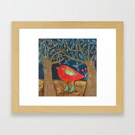Red Bird in Galoshes Framed Art Print