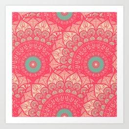 Mandala pattern #11 - pale pink & red Art Print