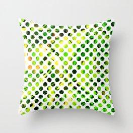Fluid Dot (Green Version) Throw Pillow